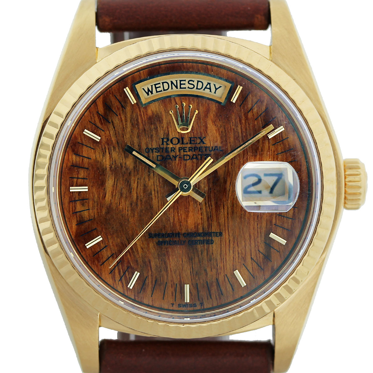 Rolex 18038 Yellow Gold Burled Wood Dial Watch