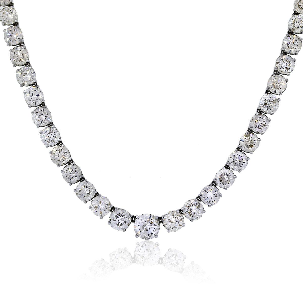 Platinum 5001Ctw Round Diamond Tennis Necklace Boca Raton