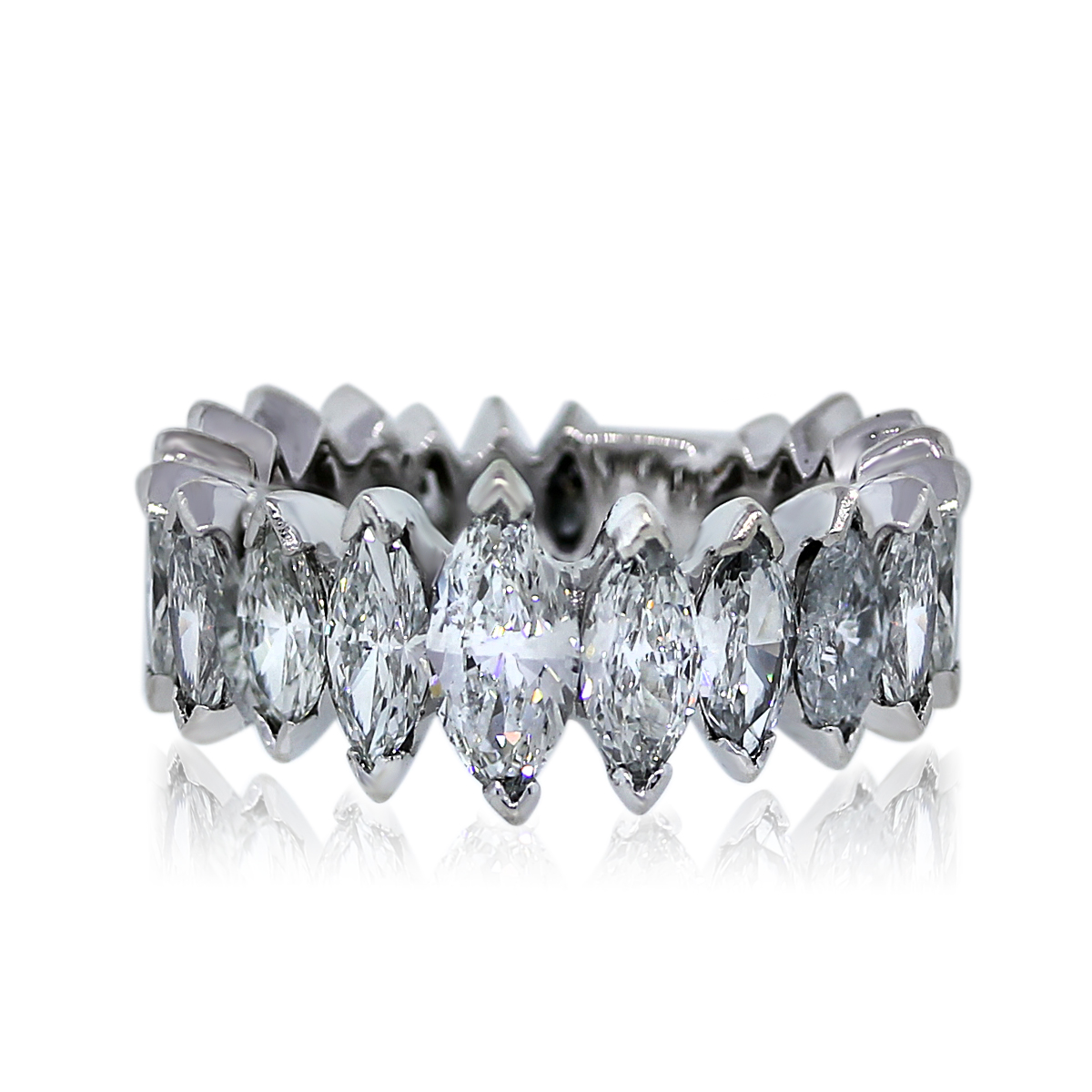 Platinum Marquise Cut 4 Ctw Diamond Eternity Band Ring