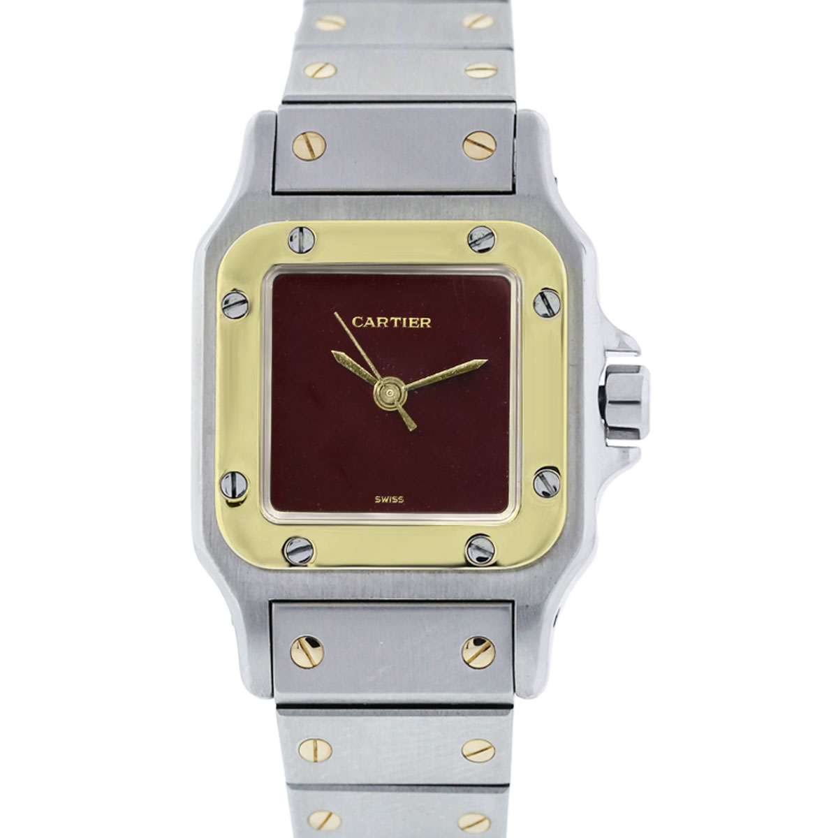 Cartier Santos Two Tone Burgundy Dial Ladies Automatique Watch