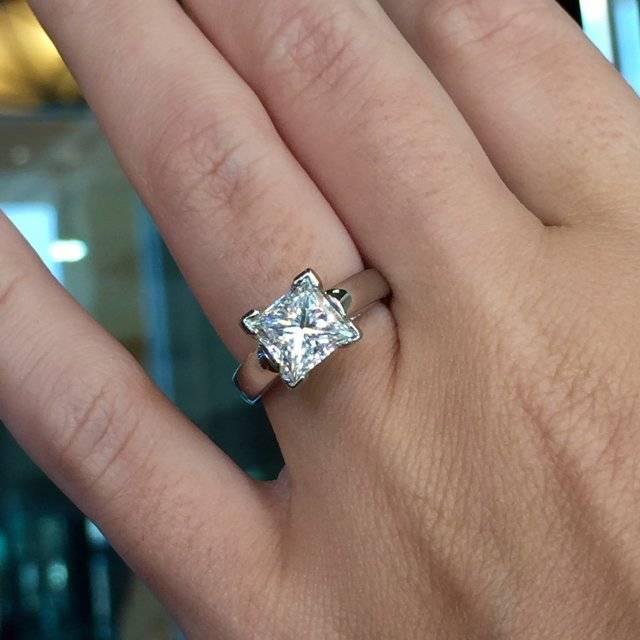 2 carat Princess Cut Solitaire Engagement ring