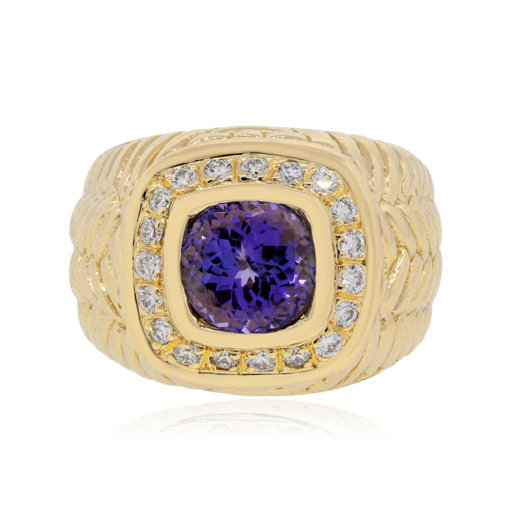 14k Yellow Gold 175ct Tanzanite And 025ctw Diamond Mens Ring