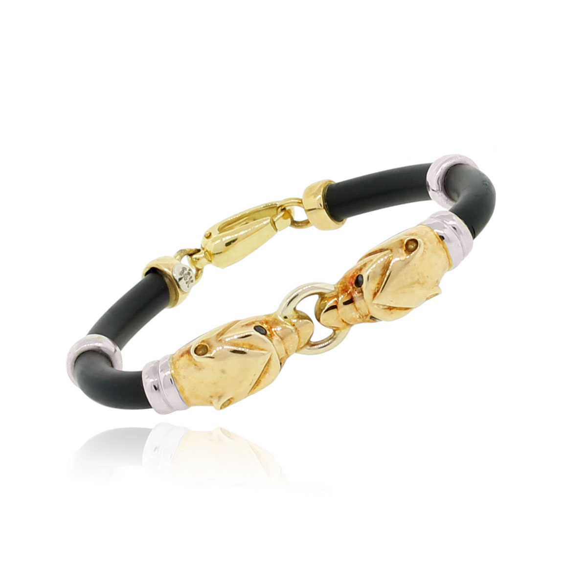 14k Two Tone Gold Rubber Band Panther Bracelet