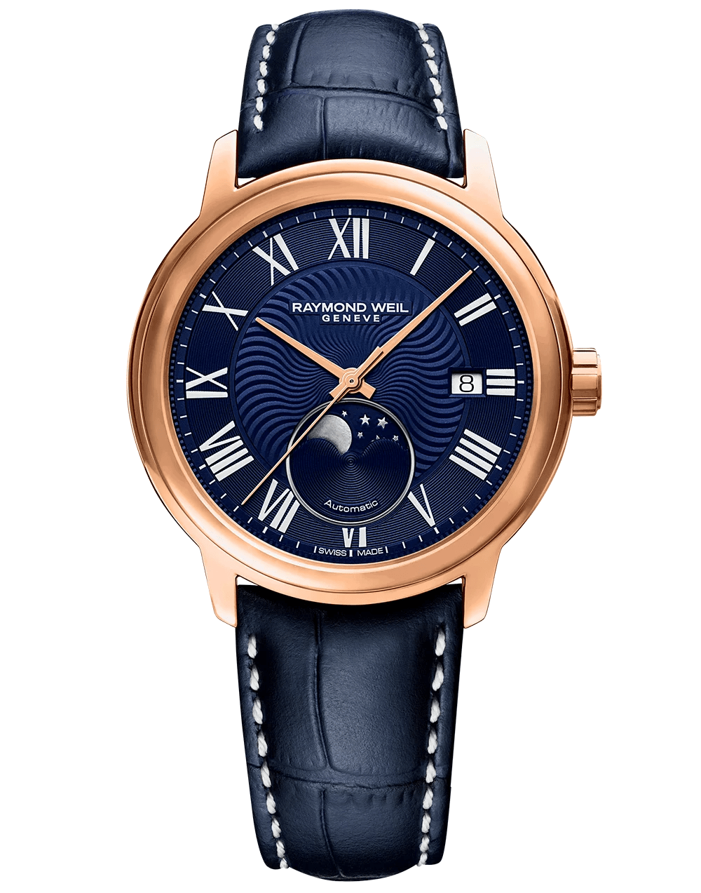 Maestro Men's Moon Phase Automatic Leather Watch