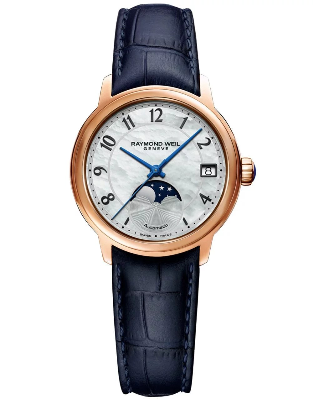 Maestro Ladies Automatic Moon phase Mother-of-Pearl Leather Watch, 34mm
