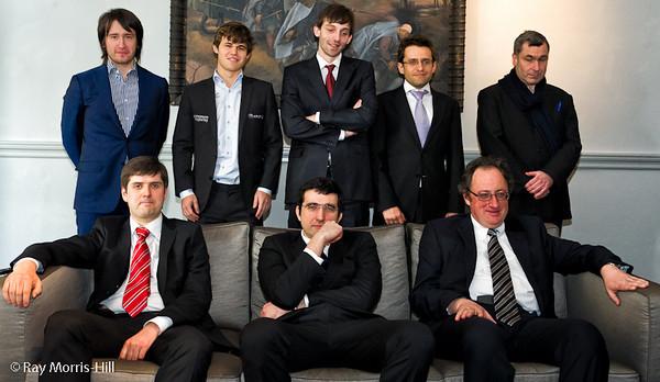 The Candidates: Standing from left to right, Teimour Radjabov, Magnus Carlsen, Alexander Grischuk, Levon Aronian, Vassily Ivanchuk, sitting from left to right,  Peter Svidler, Vladimir Kramnik and Boris Gelfand