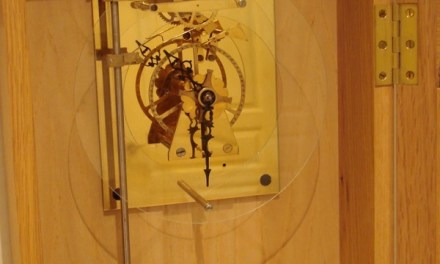 Woodwards Gearless Clock in the case! – nearly finished.