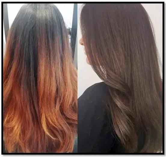 como quitar los reflejos naranjas del pelo