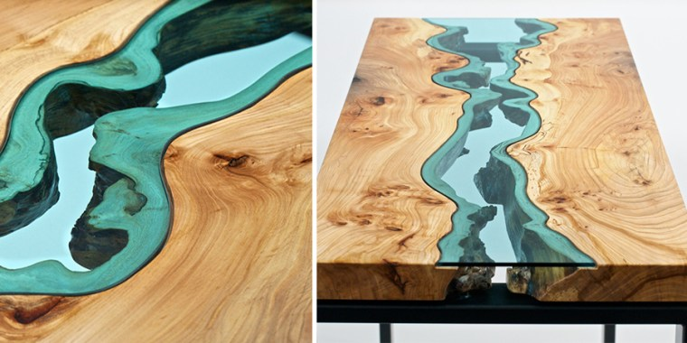 Cool Wooden Coffee Tables Ideas with Blue Transparent Glass on Top for Cheap Modern Furniture