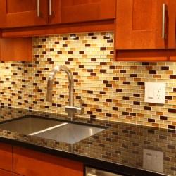 Decorating Ideas for Mosaic Tiles Kitchen Backsplash Designs with Maple Kitchen Cabinet