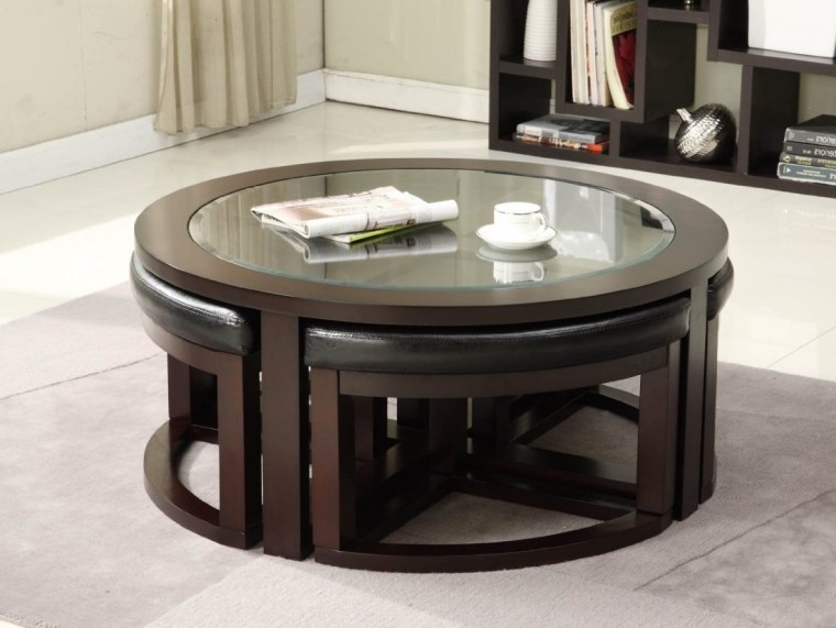 ashley furniture round coffee table with stools and glass on top