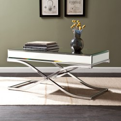 mirrored coffee table set with metal legs