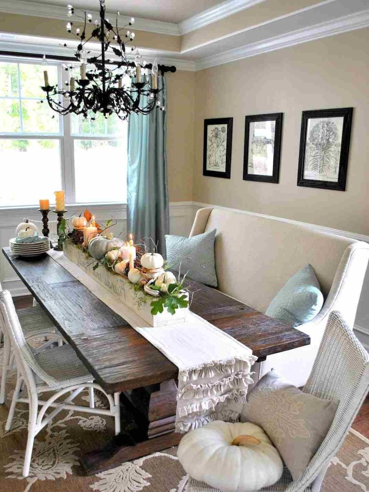 oak wood rustic dining table centerpieces