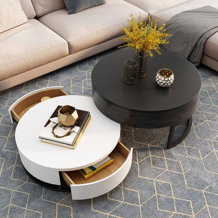 Multipurpose Wooden Round Coffee Table Gives Extra Features in Your Living Room