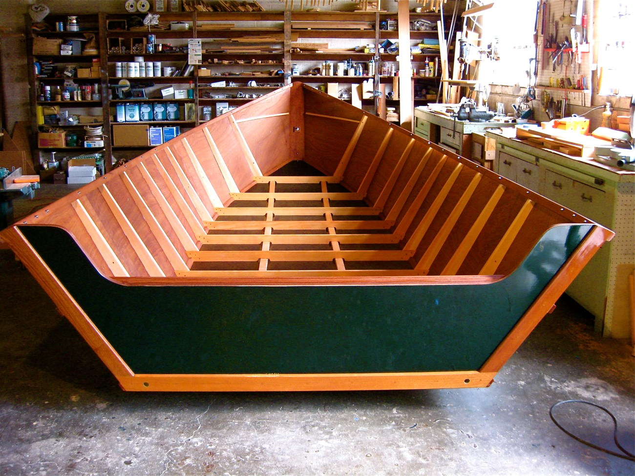 A custom skiff boat being built