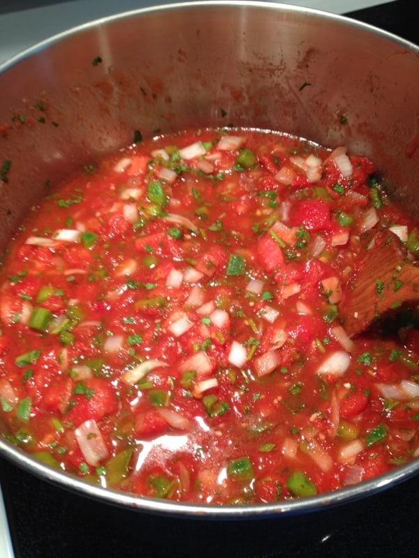 Salsa after cooking. Ready to put into mason jars.