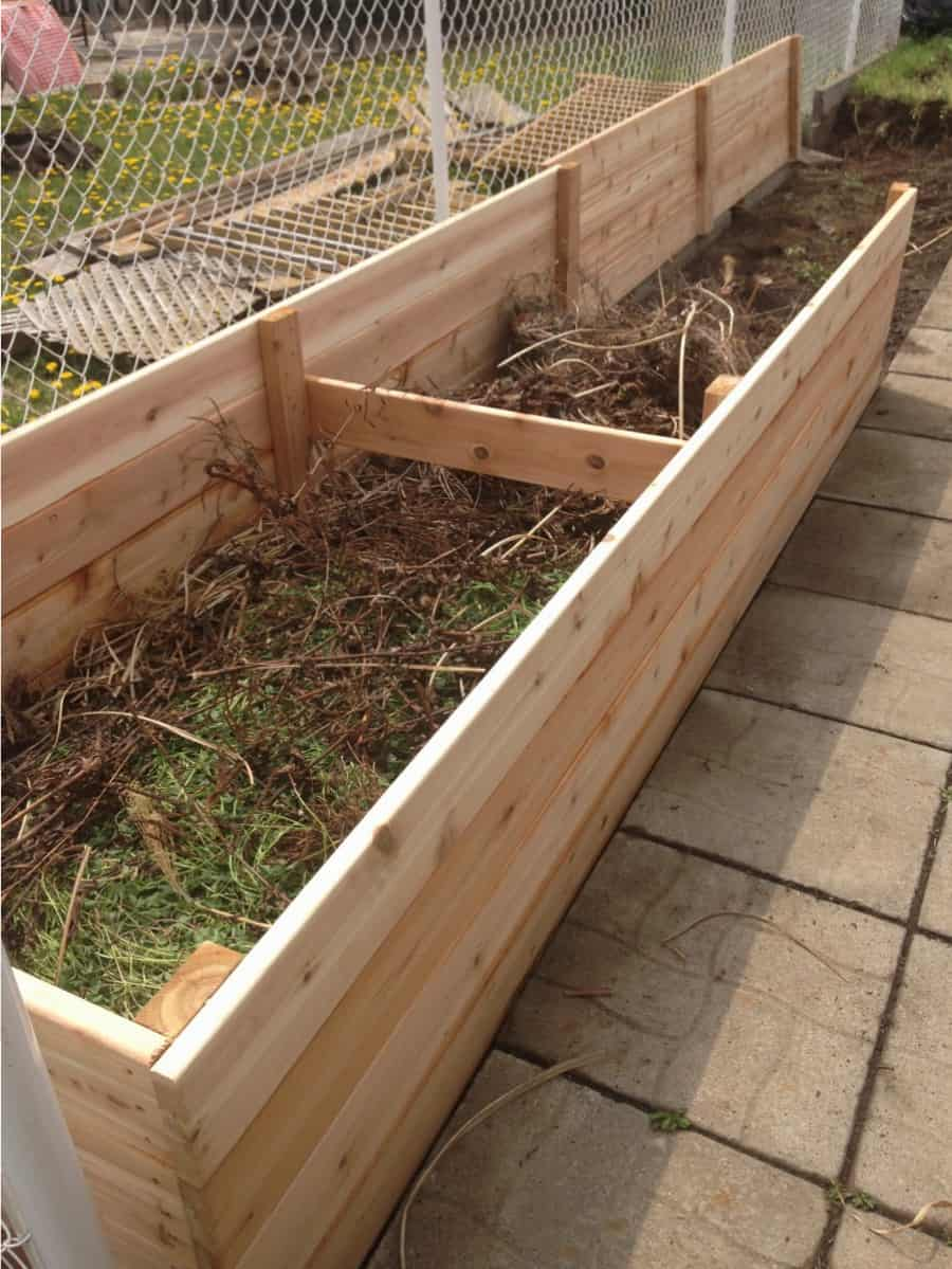 Cedar raised bed in progress.