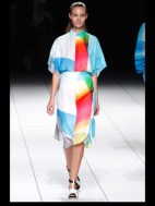 colored long shirt like a dress from issey on a runway