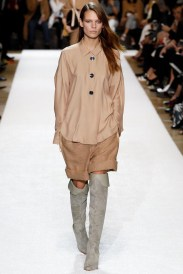 brown shirt and camel shorts Earth colors ready to wear
