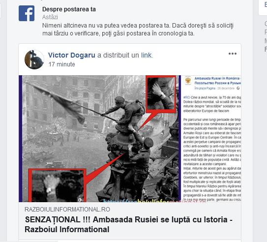 Ambasada rusa - Cenzura pe FaceBook, s-a trecut la interzicerea unor articole de știri