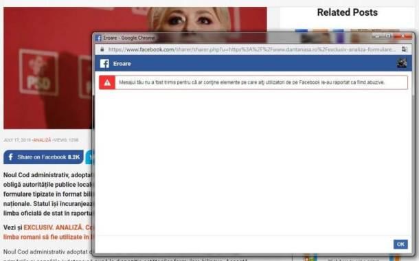 blog dan tanasa blocat de facebook - Au început să fie interzise saituri romaneşti pe FaceBook  - Dan Tanasă