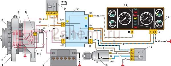 Как подключить генератор ваз 2106. схема подключения ...