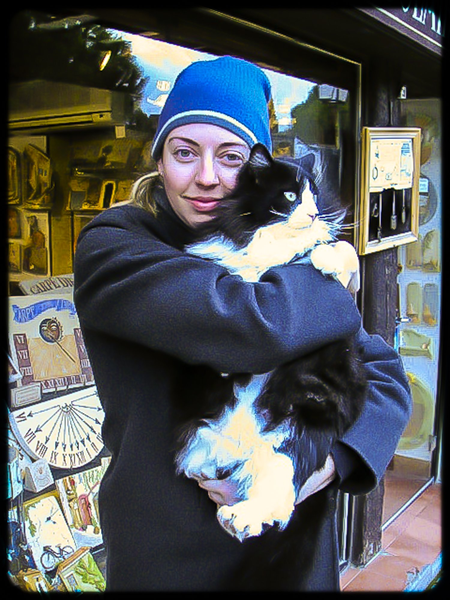 Jessie with street cat