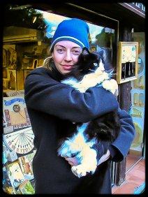 Jessie with street cat