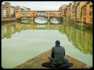Gazing at the Ponte Vechio, Florence, Italy