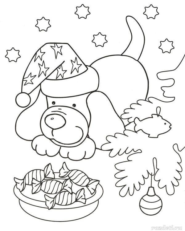 Новогодняя раскраска для дошкольников 3-4 лет