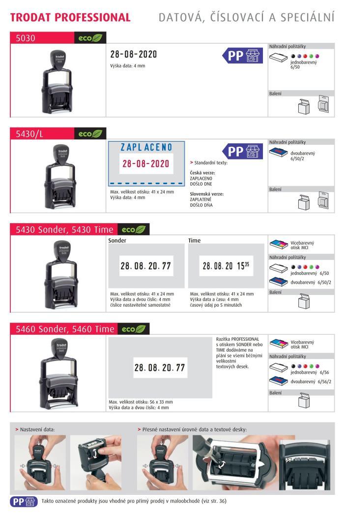 Razítko Trodat 5430 Professional, datumovka, datumové razítko, 4mm