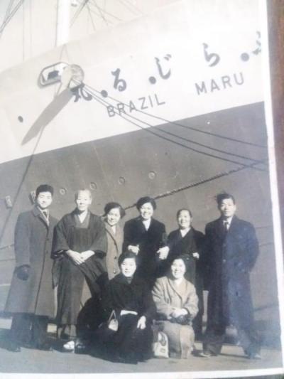 foto antiga japoneses navio chegando Brasil