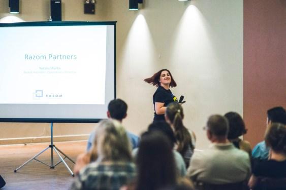 Natalia Shyrba, Razom Board member, explained the Razom Partners iniative.