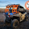Orange Camping gear in top tray of Polaris RZR 900 Sherpa RBO Rack