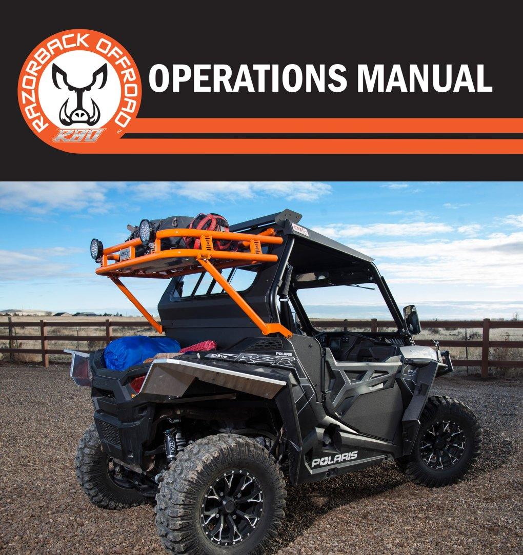 Operations Manual for RZR 900 Baja Explorer Rack