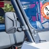 Third party Polaris Ranger side mirror is compatible and fits alongside the folding front glass windshield