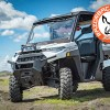 Trail riding and off roading with the Polaris XP 1000 glass windshield and Rear Storage Rack