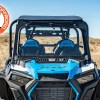 Front folding glass windshield and aluminum roof accessories on the Polaris Turbo S 4 seater model UTV