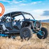 Polaris RZR XP Turbo S against the mountains with aluminum roof and overhead console