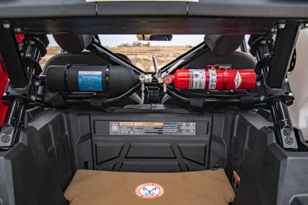 Fire Extinguishers Heat Pad Bed Polaris RZR Turbo S Custom UTV SEMA Build