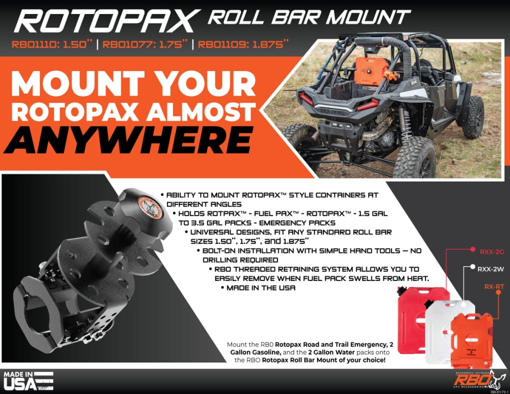 Rotopax Roll Bar Mount on Turbo S RBO1077 RBO1109 RBO1110 Features Flyer