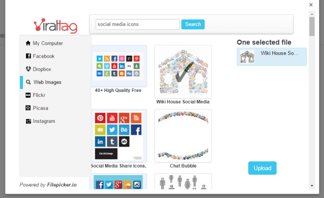 Search the web, within Viraltag, for images to share
