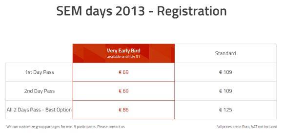 SEM Days - Very early bird