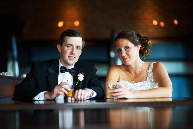 Bride and groom portrait at the Stone Cliff winery bar in dubuque