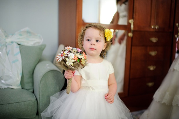 The flower girl with her brooches bouquet