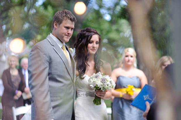 Wedding ceremony in the backyard at the Wild Rose Inn in Okoboji