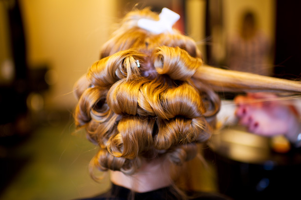 Bride hair appointment at Zender's Salon in Iowa City