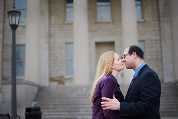 Iowa City engagement session in front of the Old Capitol Building