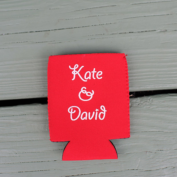 A personalized coozie served as a wedding gift for the guests