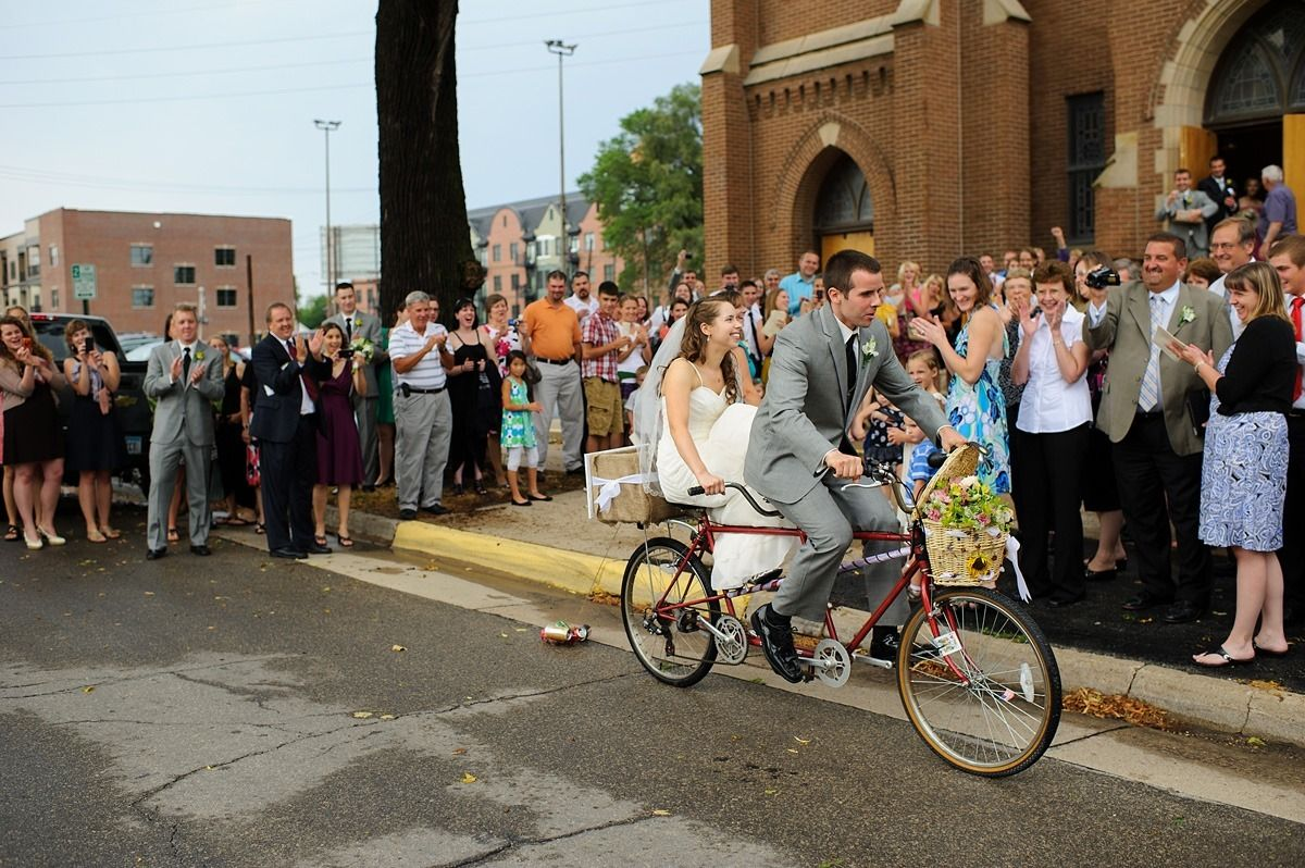 church exit on a tandem bike